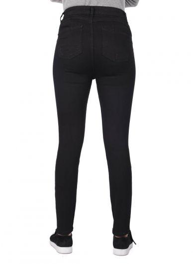 Blue White Women's Black Slim Fit Jean Trousers - Thumbnail