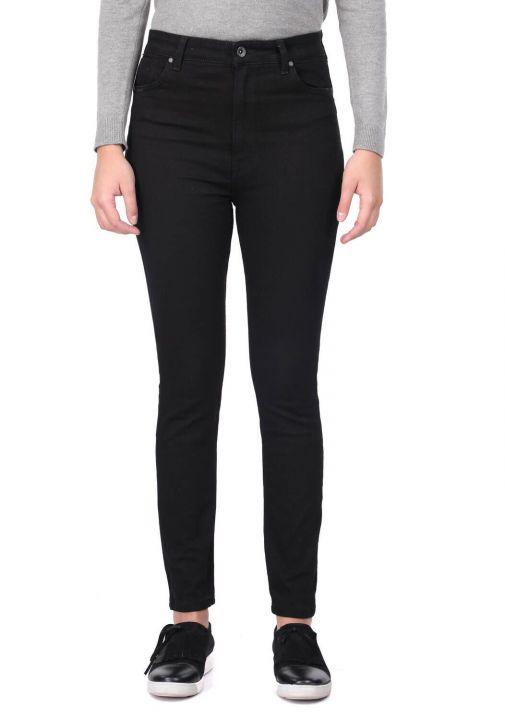 Сине-белые женские черные узкие джинсовые брюки