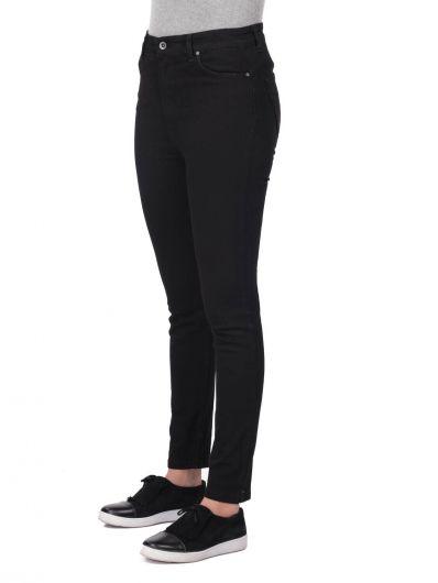 BLUE WHITE - Сине-белые женские черные узкие джинсовые брюки (1)