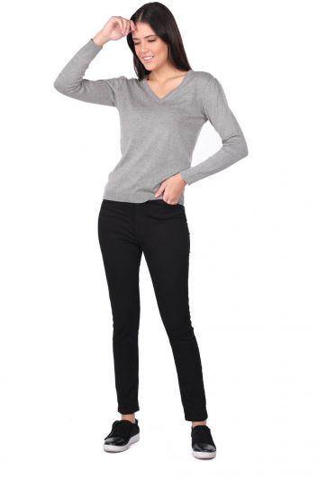 Сине-белые женские черные узкие джинсовые брюки - Thumbnail