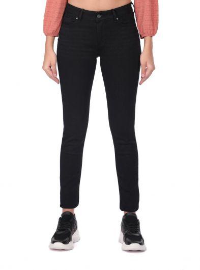 Blue White Women Black Slim Fit Jean Trousers - Thumbnail