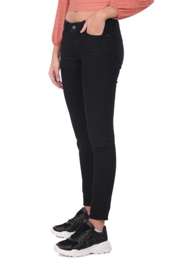 BLUE WHITE - Blue White Women Black Slim Fit Jean Trousers (1)