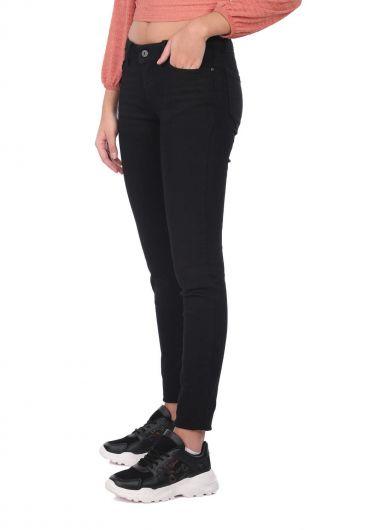 BLUE WHITE - Синие белые женские черные узкие джинсовые брюки (1)