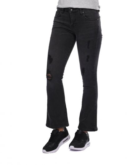 BLUE WHITE - Blue White Women's Black Spanish Jean Trousers (1)