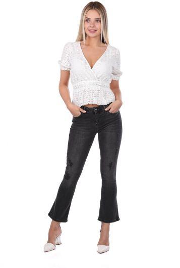 Женские черные расклешенные джинсовые брюки бело-голубого цвета - Thumbnail