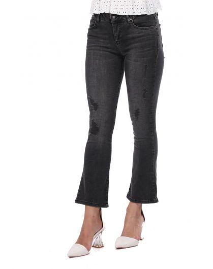 BLUE WHITE - Blue White Women's Black Flared Jean Trousers (1)