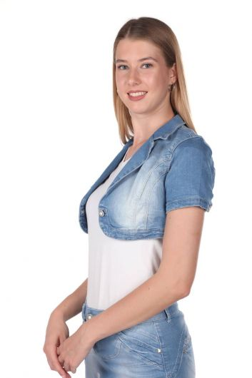 BLUE WHITE - Голубое белое женское болеро (1)