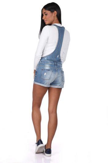 بذلة جينز زرقاء بيضاء نسائية بأزرار قصيرة - Thumbnail