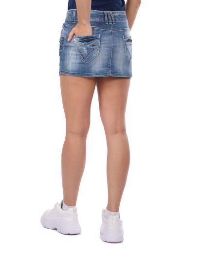 Blue White Women's Buttoned Mini Jean Skirt - Thumbnail
