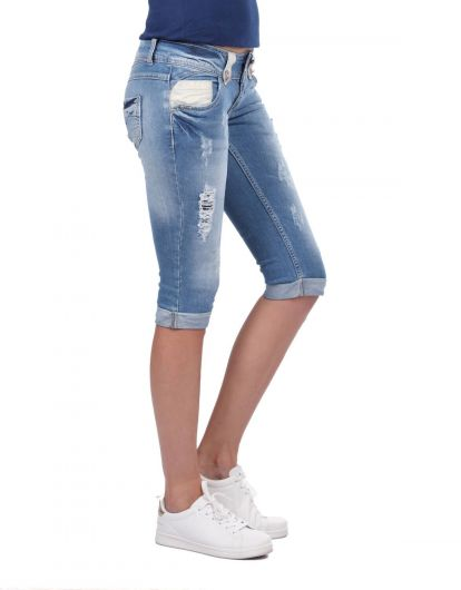 BLUE WHITE - Blue White Women's Capri (1)