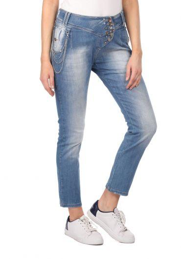 BLUE WHITE - Сине-белые женские джинсовые брюки с цепочкой (1)