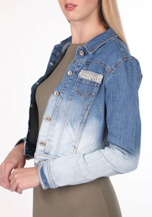 Blue White Women Jean Jacket