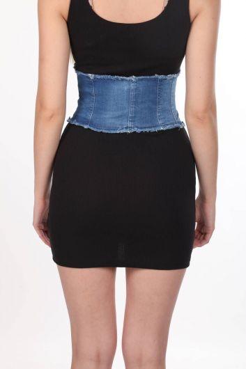 سترة جينز نسائية زرقاء بيضاء - Thumbnail