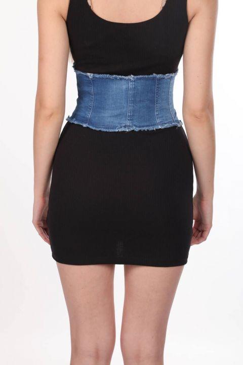 Blue White Women's Jean Vest