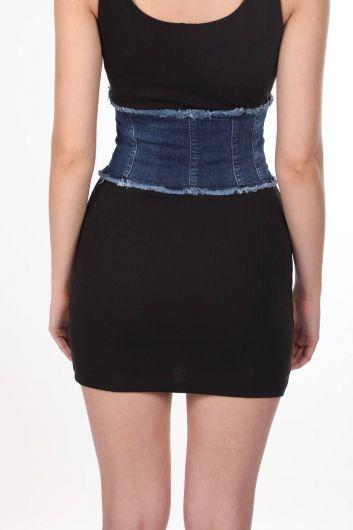 Blue White Women's Jean Vest - Thumbnail