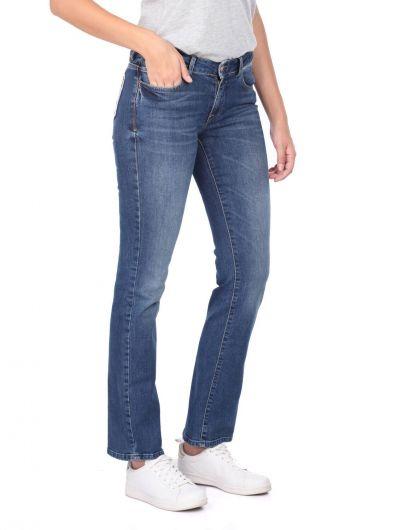 BLUE WHITE - بنطلون جينز أزرق غامق للسيدات باللون الأزرق والأبيض (1)
