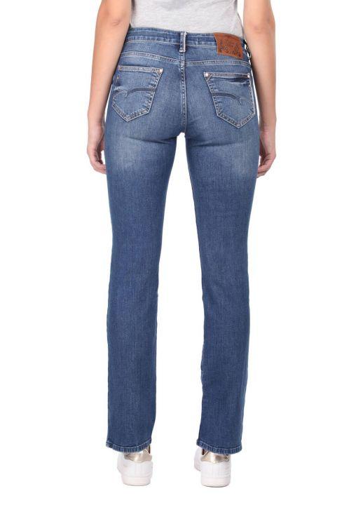 بنطلون جينز أزرق غامق للسيدات باللون الأزرق والأبيض