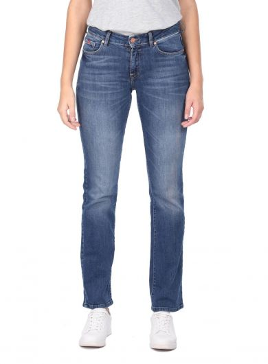 Синие белые женские темно-синие джинсовые брюки - Thumbnail