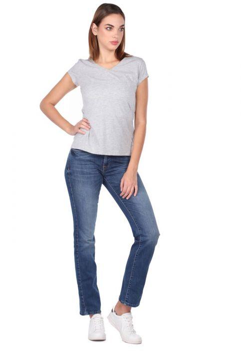 Синие белые женские темно-синие джинсовые брюки