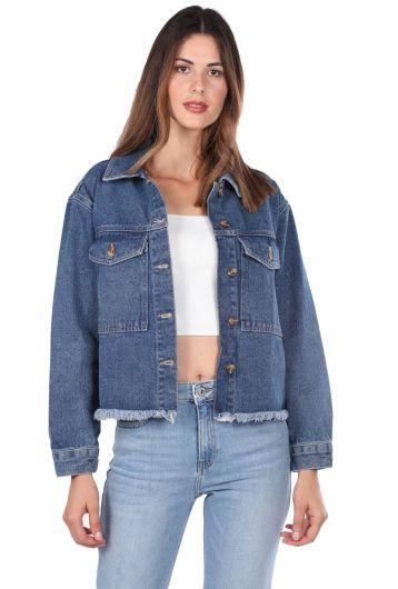 Blue White Pockets Women Jean Jacket - Thumbnail