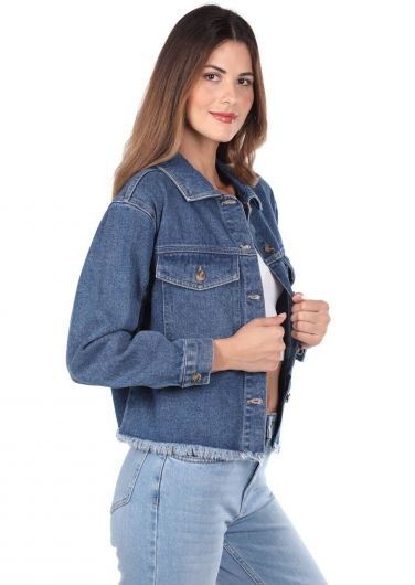 BLUE WHITE - Blue White Pockets Women Jean Jacket (1)