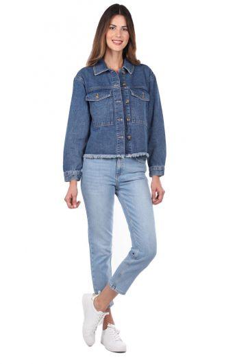 Джинсовая куртка с синими и белыми карманами - Thumbnail