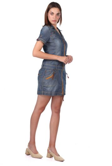 BLUE WHITE - Women's Zippered Short Sleeve Jean Dress (1)
