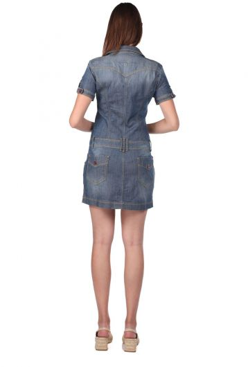Women's Zippered Short Sleeve Jean Dress - Thumbnail