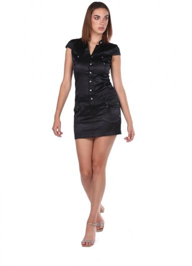 Blue White Women Black Jean Dress  - Thumbnail