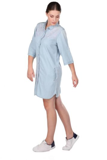 BLUE WHITE - Women's Half Sleeve Buttoned Jean Dress (1)