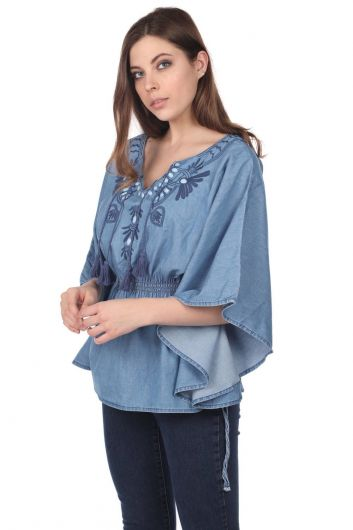 BLUE WHITE - Blue White Jean Blouse (1)