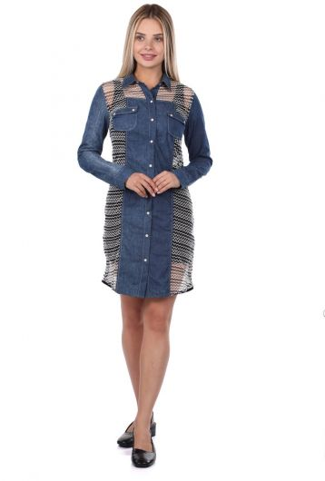 Blue White Buttoned Jean Dress - Thumbnail