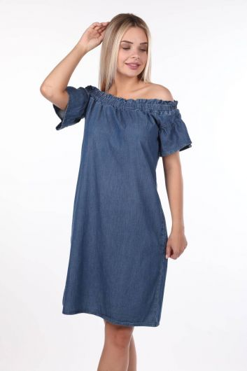 Blue White Women Jean Dress - Thumbnail