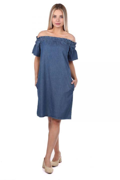 Женское детализированное джинсовое платье с воротником