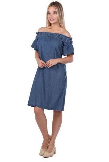BLUE WHITE - Женское детализированное джинсовое платье с воротником (1)