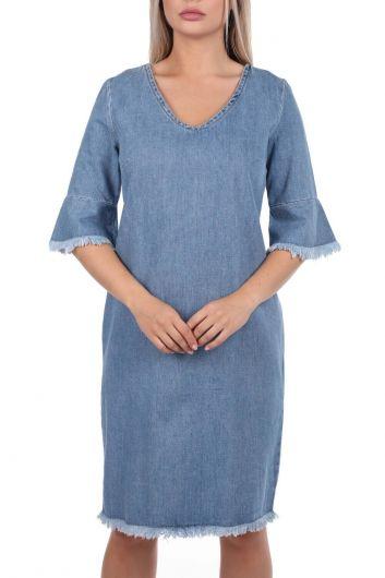 Женское синее джинсовое платье с V-образным вырезом - Thumbnail