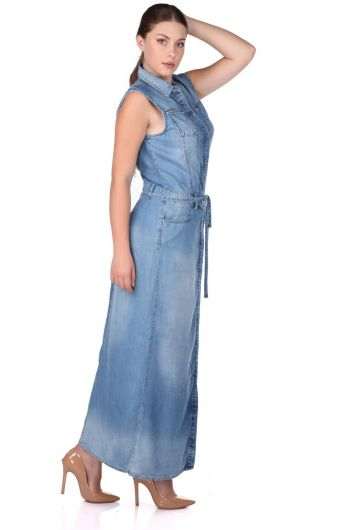BLUE WHITE - Women Buttoned Long Dress (1)