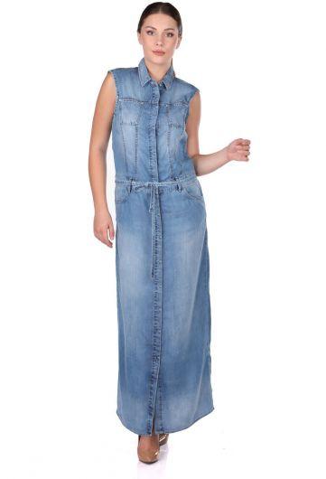Женское длинное платье на пуговицах - Thumbnail