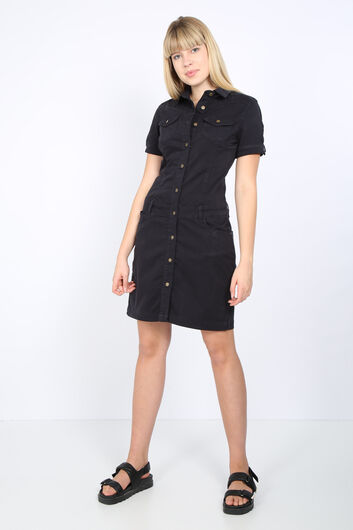 Женское черное джинсовое платье на пуговицах - Thumbnail