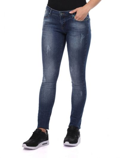 BLUE WHITE - Blue White Women's Indigo Slim Fit Jean Trousers (1)