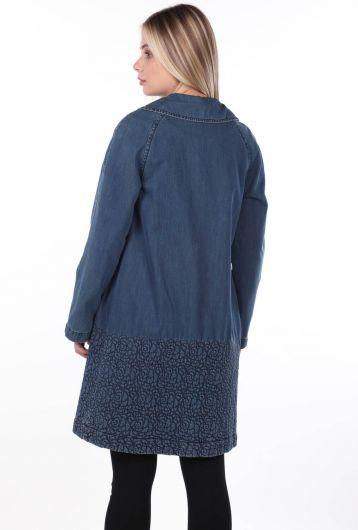 جاكيت جينز نسائي أزرق وأبيض - Thumbnail