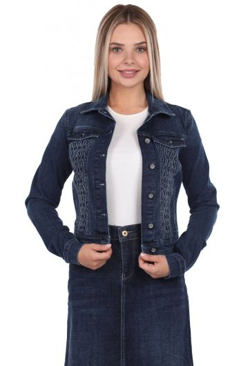 Blue White Women Jean Jacket - Thumbnail