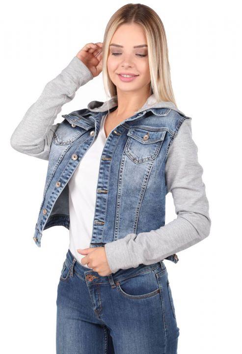 جاكيت جينز أزرق أبيض مقنع