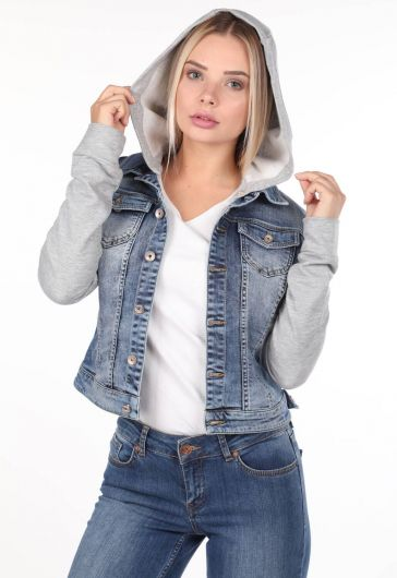 جاكيت جينز أزرق أبيض مقنع - Thumbnail