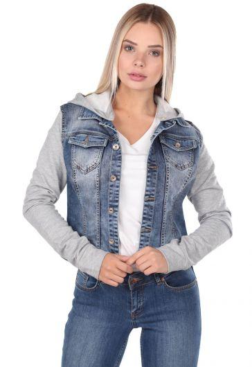 Blue White Hooded Jean Jacket - Thumbnail