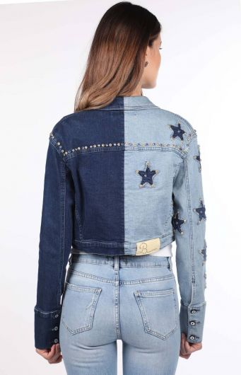 جاكيت جينز نسائي أزرق وأبيض مفصل بالنجوم - Thumbnail