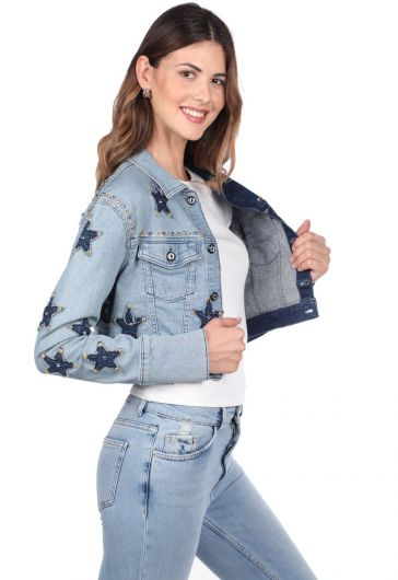 BLUE WHITE - Blue White Women Star Detailed Jean Jacket (1)