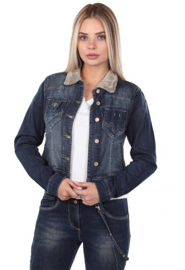 Blue White Women Jean Jacket - Thumbnail
