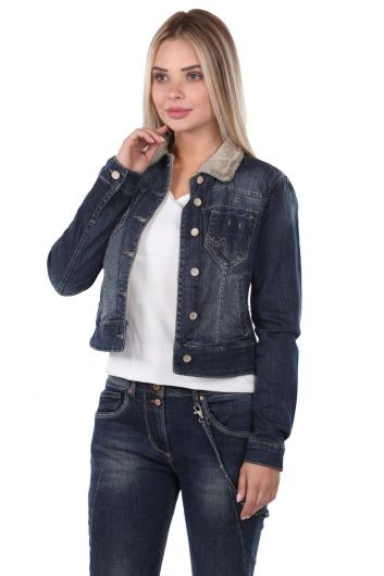 BLUE WHITE - Blue White Women Jean Jacket (1)