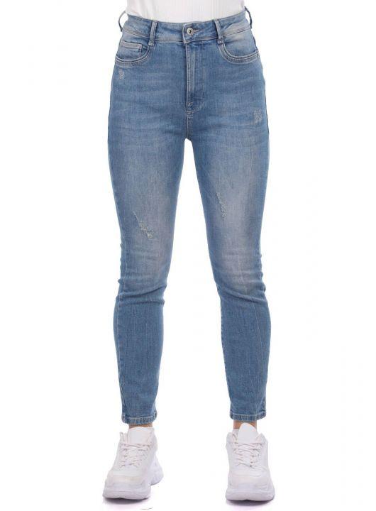 Blue White Women Jean Trousers